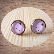 Maolia - Boucles d'oreilles cabochon ciel rose étoilé