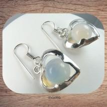 Boucles d'oreilles cœur argent avec perle en opale