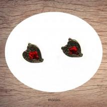 Boucles d'oreilles coeur rouge forme empire