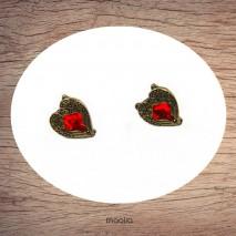 Boucles d'oreilles coeur rouge forme empire bronze