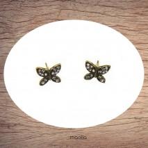 Boucles d'oreilles papillons bronze et cristal