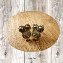 Boucles d'oreilles chouette dorée corps cristal