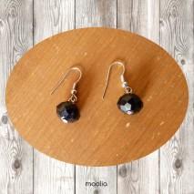 Boucles d'oreilles en cristal facetté noir