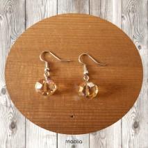 Boucles d'oreilles en cristal facetté beige clair doré