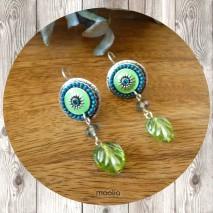 Boucles d'oreilles méaillon émaillé et feuille verte