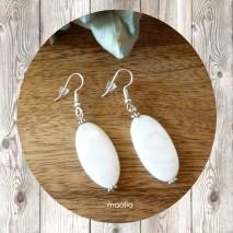 Boucles d'oreilles grande perle de nacre blanche