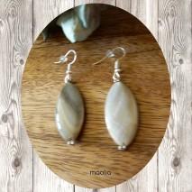 Boucles d'oreilles grande perle de nacre grise