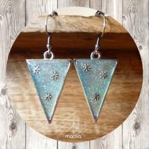 Boucles d'oreilles triangle résine bleue pailletée