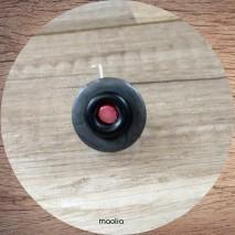 Bague bouton tons gris et rose base argentée