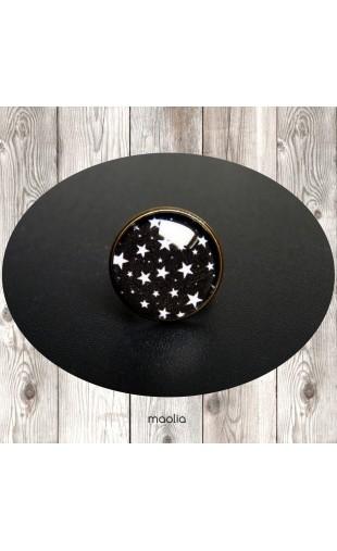 Bague cabochon ronde ciel noir étoilé