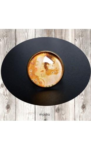 Bague cabochon ronde mère et enfant Klimt
