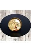 Bague cabochon ronde bronze arbre Klimt
