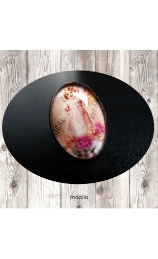 Bague cabochon ovale bronze fillette pivoines roses