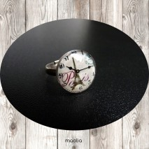 Bague cabochon horloge Paris