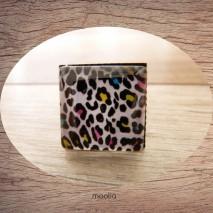 Bague cabochon carrée peau de léopard multicolore