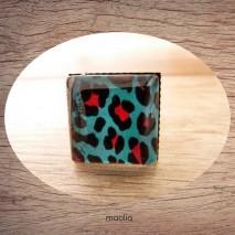 Bague cabochon carrée peau de léopard bleu