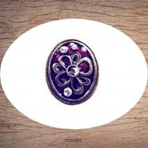 Bague émaillée ovale grosse fleur et cristal