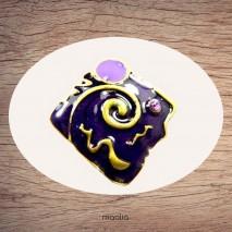 Bague émaillée carrée violet mauve