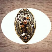 Bague émaillée ovale brune et bronze