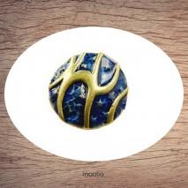 Bague émaillée ronde bleu et bronze