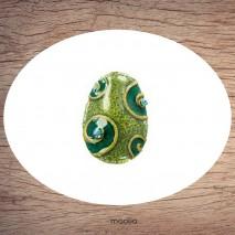Bague émaillée ovale deux teintes de vert