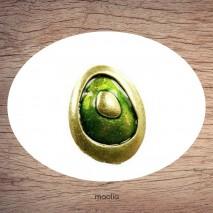 Bague émaillée ovale vert scintillant et bronze