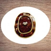 Bague émaillée ovale brun scintillant et bronze