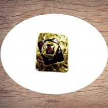 Bague émaillée rectangle bronze et rouge brun
