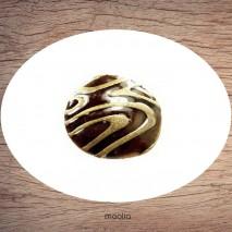 Bague émaillée ronde brune striée bronze