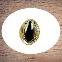 Bague émaillée ovale bronze et noire