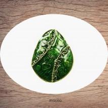 Bague émaillée ovale bronze verte ou bleue