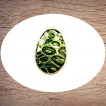 Bague émaillée ovale verte et bronze
