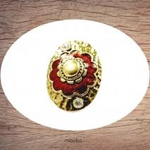 Bague émaillée ovale grosse fleur rouge et bronze