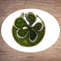 Bague émaillée ronde fleur verte