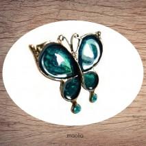 Bague émaillée papillon bleu