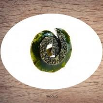 Bague émaillée ronde verte en spirale