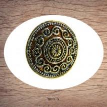 Bague émaillée ronde brune arabesques
