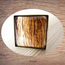 Bague cabochon carrée brun lumineux