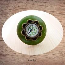 Bague bouton coco vert cabochon forme fleur