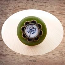 Bague bouton coco vert cabochon arbre bleu