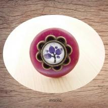 Bague bouton coco rouge violet cabochon fleur