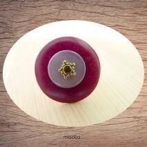 Bague bouton coco rouge violet nacre violine