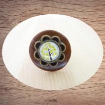 Bague bouton coco marron cabochon arbre jaune