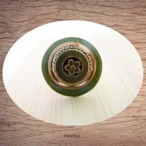 Bague bouton coco vert bronze et doré