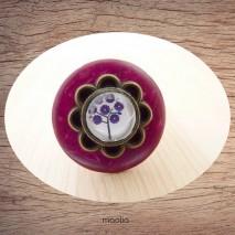 Bague bouton coco rouge violet cabochon arbre mauve