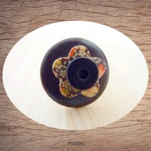 Bague bouton coco noir fleur bois fleuri
