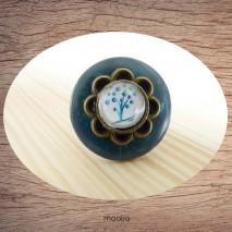 Bague bouton coco bleu cabochon arble bleu