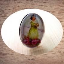 Bague cabochon ovale bronze fillette jaune fleurs roses