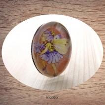 Bague cabochon ovale bronze fillette papillon