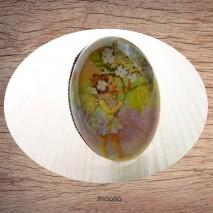 Bague cabochon ovale bronze fillette arbre fleuri